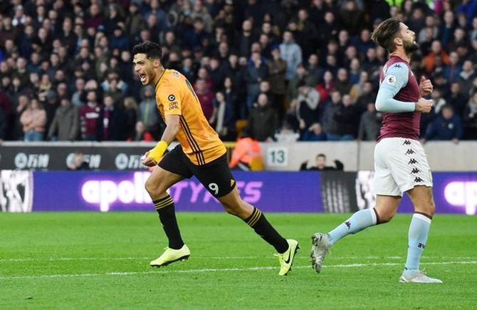 Raul Jimenez celebrates scoring Wolverhampton Wanderers's second goal against Aston Villa.