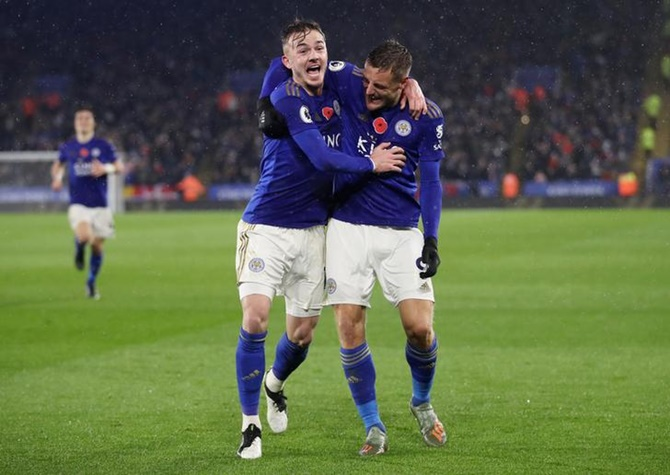 James Maddison celebrates scoring Leicester City's second goal with Jamie Vardy during Saturday's Premier League match against Arsenal