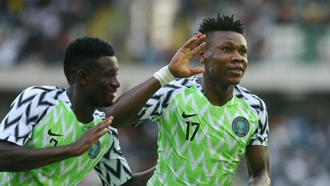 Samuel Kalu celebrates after scoring what turned out to be the match-winner for Nigeria in the Africa Cup of Nations match against Benin