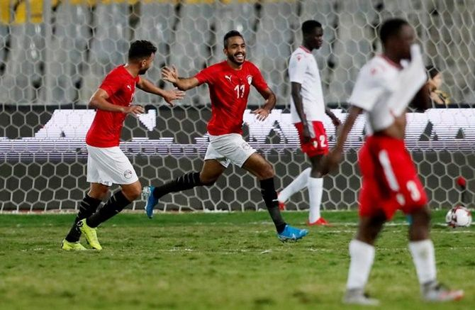 Kahraba celebrates scoring Egypt's first goal against Kenya in the African Nations Cup 2021 Qualifier