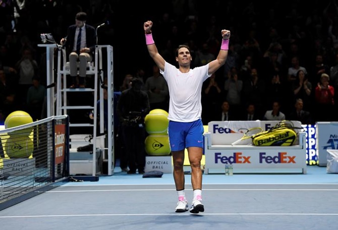 Spain's Rafael Nadal celebrates after winning his group stage match against Greece's Stefanos Tsitsipas