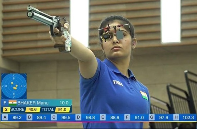 Shooting World Cup: Manu wins gold in 10m air pistol