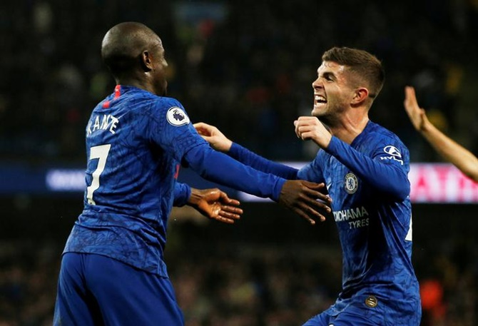 N'Golo Kante celebrates scoring Chelsea's goal with Christian Pulisic.