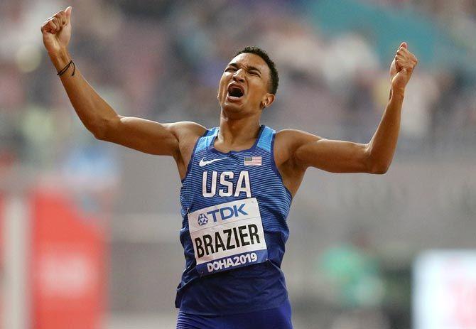 Donavan Brazier of the United States celebrates winning the 800 metres final