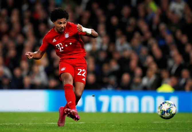 Serge Gnabry scores Bayern Munich's fifth goal to complete his hat-trick against Tottenham Hotspur.