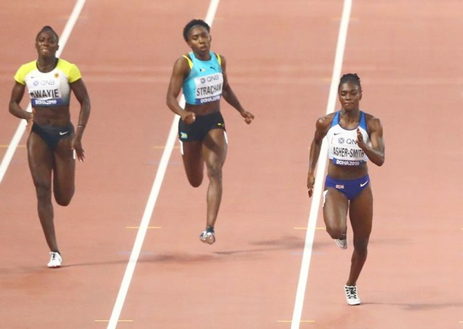 Britain's Dina Asher-Smith races to the line to win her 200 metres semi-final.