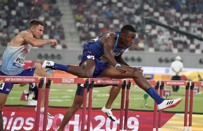 Grant Holloway of the United States during the men's 110 metres hurdles.