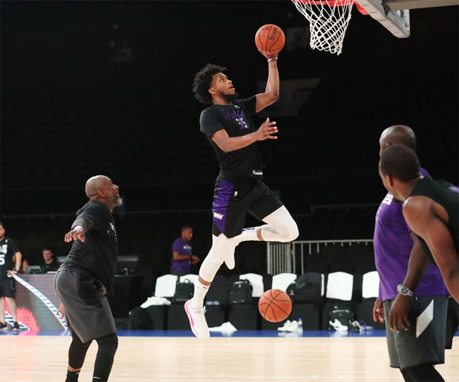 The Sacramento Kings during a training session at the NSCI Dome in Mumbai on Thursday