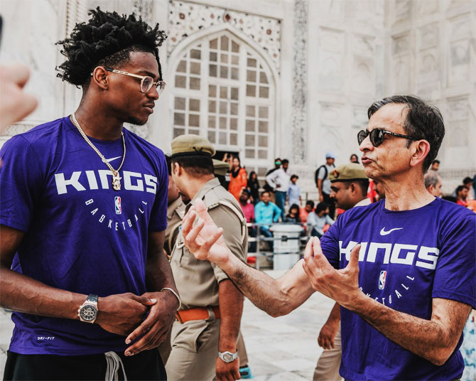 Sacramento Kings' De'Aaron Fox speaks with team owner Vivek Ranadive during their visit to the Taj Mahal on Wednesday, October 2.