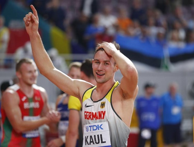Germany's Niklas Kaul reacts after winning the men's decathlon gold.