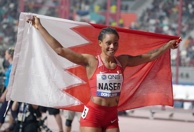 Bahrain's Salwa Eid Naser celebrates after winning the women's 400 metres in 48.14 seconds