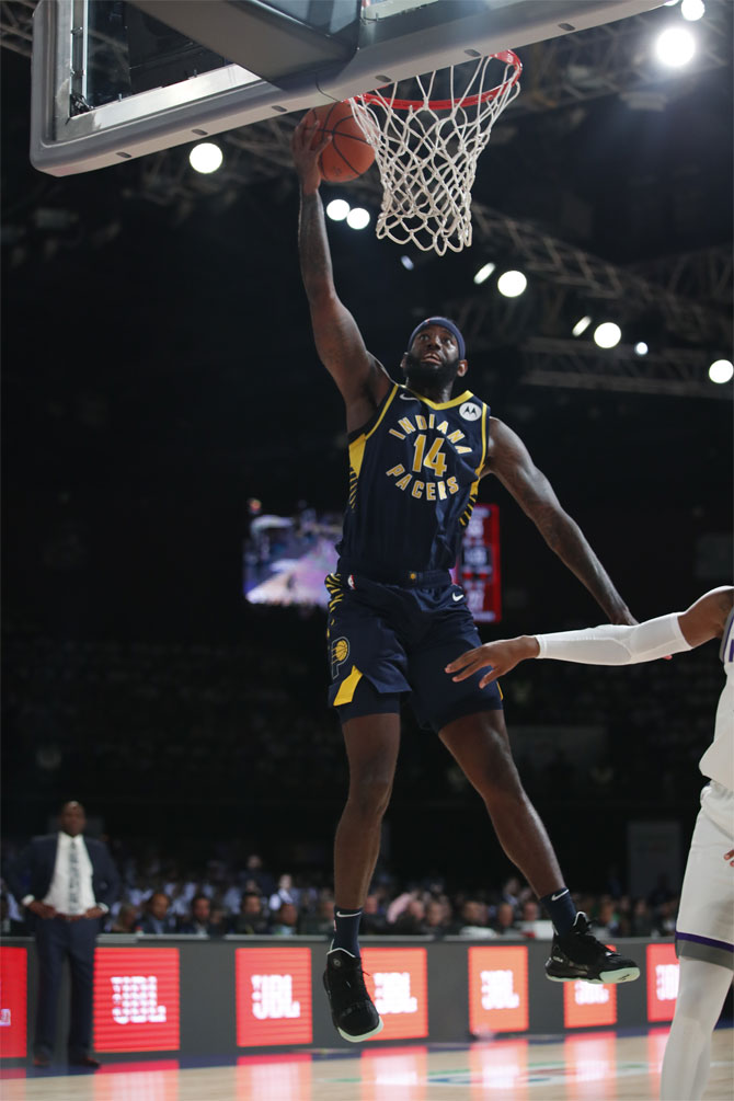 Ja Karr Sampson of the Indiana Pacers scores a basket