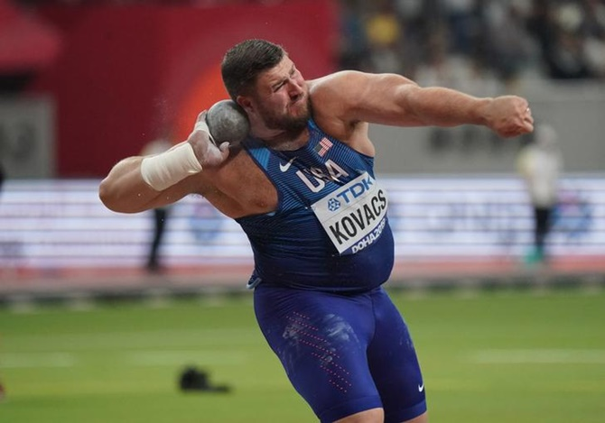 Joe Kovacs of the United States wins the shot put in a Championship record 22.91 metres.