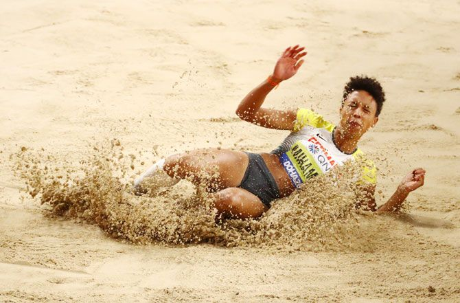Germany's Malaika Mihambo in action during the Women's Long Jump Final