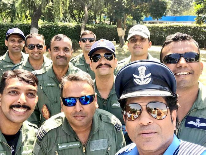 Sachin Tendulkar at IAF Day Parade