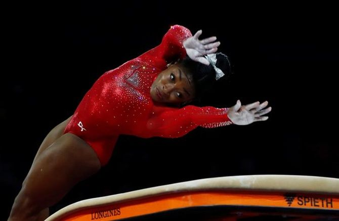 Simone Biles of the United States goes through her routine in the women's Vault final