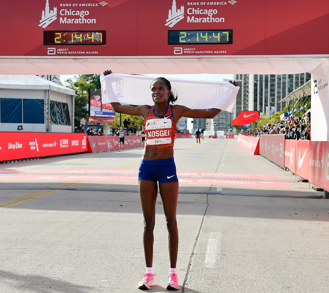 Kosgei shatters women's marathon World record
