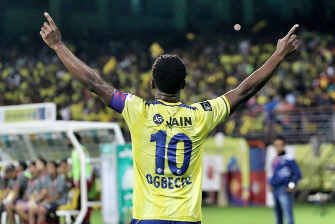 Kerala Blasters' Bartholomew Ogbeche celebrates on scoring the second goal against ATK in the ISL opener in Kochi on Sunday