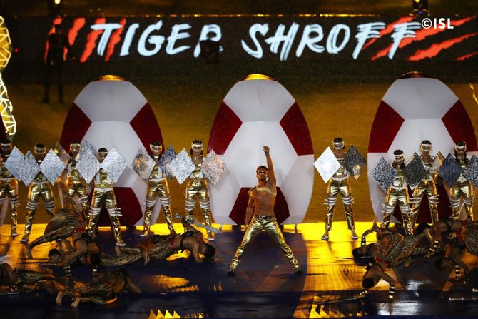 Tiger Shroff performs during the ISL opening