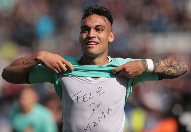 FC Internazionale's Lautaro Martinez celebrates after scoring the opening goal against US Sassuolo during their Serie A match at Mapei Stadium - Citta del Tricolore in Reggio nell'Emilia, Italy, on Sunday