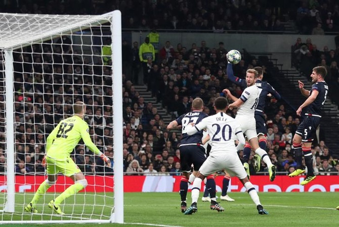 Harry Kane scores Tottenham Hotspur's first goal in the Group B match against Crvena Zvezda