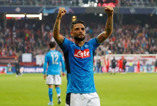 Napoli's Lorenzo Insigne celebrates after the Group E match against FC Salzburg