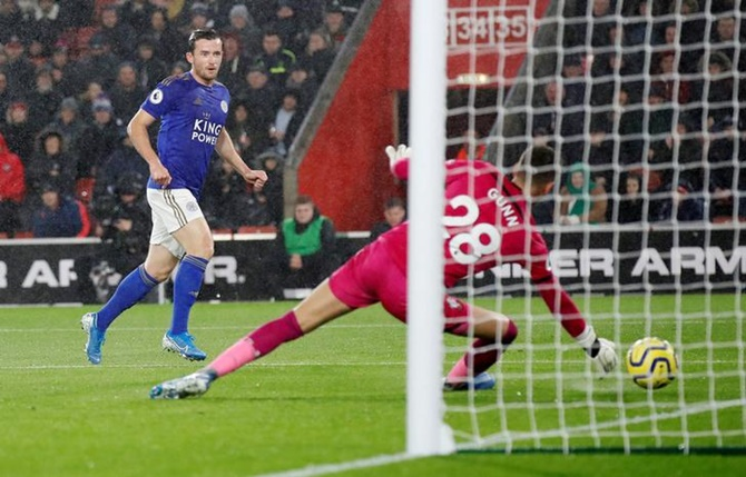 Ben Chilwell scores Leicester City's opening goal.