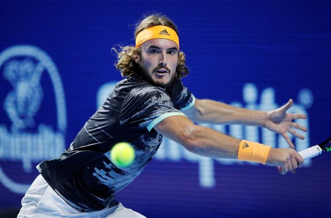 Greece's Stefanos Tsitsipas in action during his quarter-final match against Serbia's Filip Krajinovic.
