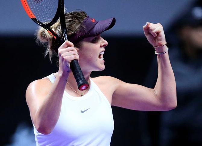 Ukraine's Elina Svitolina celebrates winning her match against Czech Republic's Karolina Pliskova.