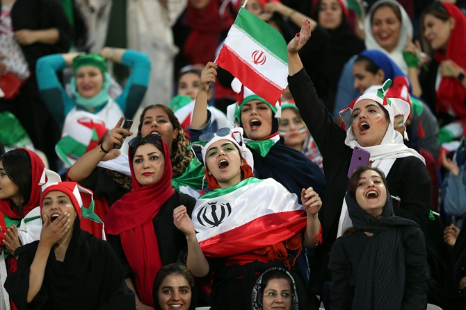 Iranian Women's fans react during the FIFA World Cup Qualifier between Iran and Cambodia.