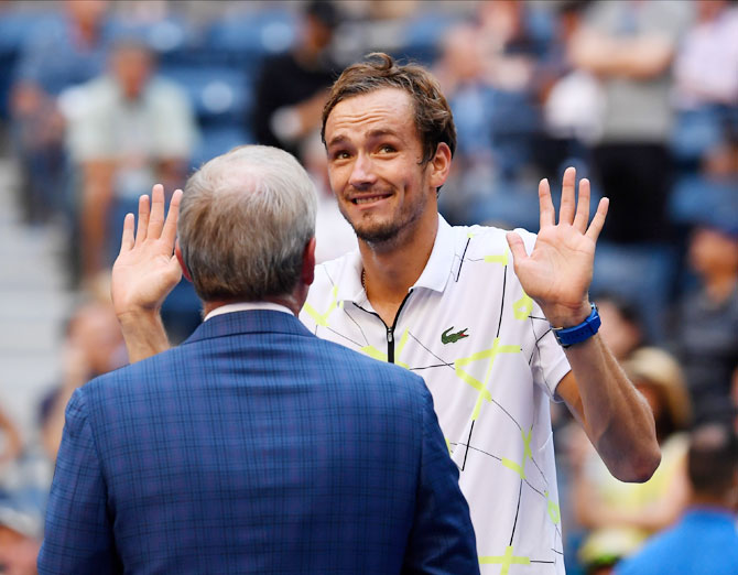 Russia's Daniil Medvedev is interviewed on court after beating Switzerland's Stan Wawrinka in their US Open quarter-final match at USTA Billie Jean King National Tennis Center at Flushing  Meadows in Queens, New York City on Tuesday