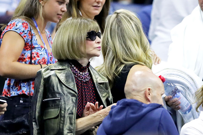 Anna Wintour, editor of Vogue and a favourite of tennis royalty, read Roger Federer and Serena Williams, watched her friend Federer lose to Dimitrov