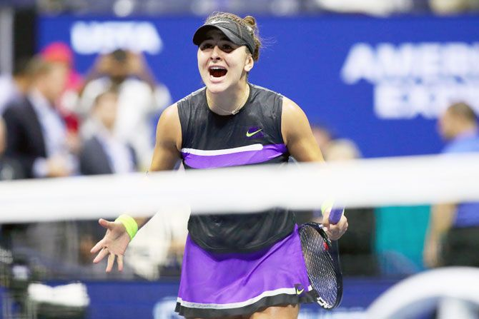 Canada's Bianca Andreescu after beating Switzerland's Belinda Bencic in their semi-final on day eleven of the 2019 US Open at the USTA Billie Jean King National Tennis Center at Flushing Meadows in the Queens borough of New York City on Thursday