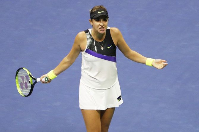 Belinda Bencic cuts a frustrated figure during the US Open semi-final