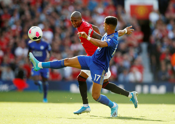 Leicester City's Ayoze Perez in action with Manchester United's Ashley Young