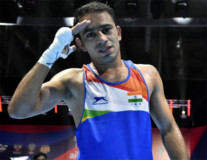 Amit Panghal is the first Indian male boxer to win a silver medal at the World Championship. Photographs: BFI/Twitter