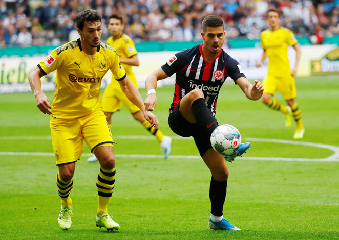 Eintracht Frankfurt's Andre Silva in action with Borussia Dortmund's Mats Hummels during their Bundesliga match at Commerzbank-Arena, Frankfurt, Germany, on Sunday