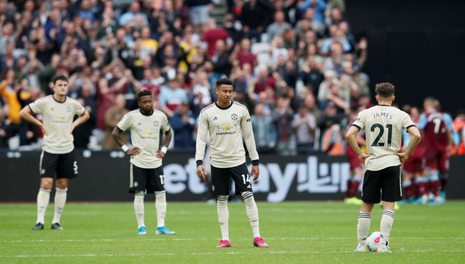 Manchester United's Jesse Lingard looks dejected