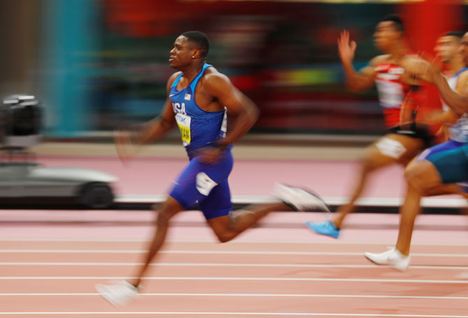 Christian Coleman had been expected to provide the main challenge to favourite and fellow American Noah Lyles in the 200m race