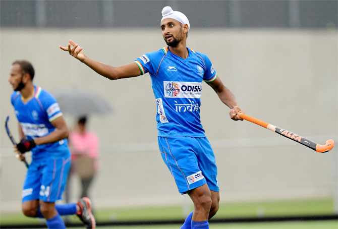 Harmanpreet scored one of his two goals through a penalty corner