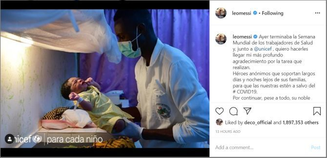 Lionel Messi's Instagram post giving gratitude to health workers to mark World Health Worker Week