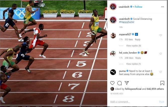 Usain Bolt's post on Instagram