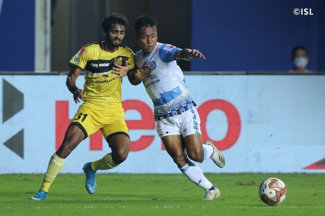 Action from the ISL match played between Jamshedpur FC and Hyderabad in Vasco on Wednesday