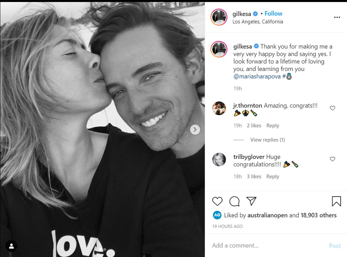 Alex Gilkes's Instagram post announcing their engagement