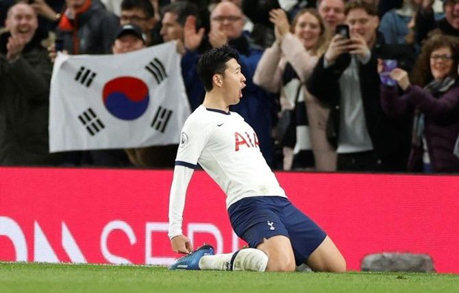 Son Heung-min celebrates scoring Tottenham Hotspur's second goal.