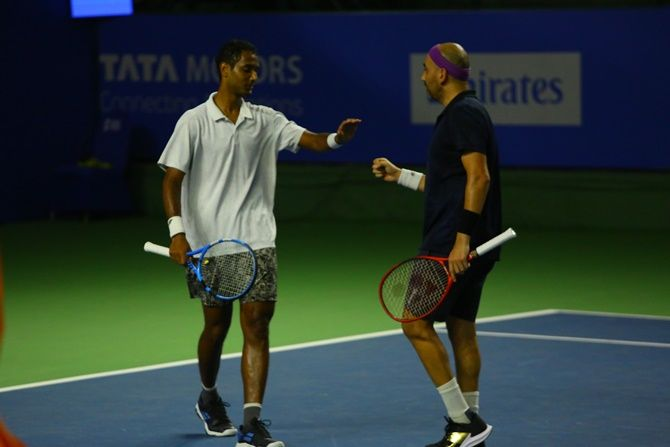 India's Ramkumar Ramanathan (left) and Purav Raja during their doubles match at the Tata Open Maharashta, in Pune, on Wednesday.