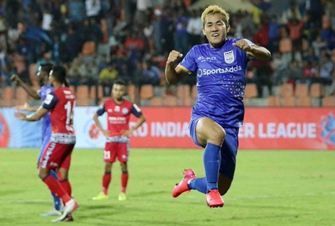 Mumbai FC Bidyananda Singh celebrates scoring in added time against Jamshedpur FC in the Indian Super League match in Mumbai on Thursday.