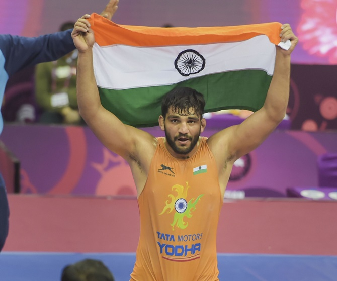 Sunil Kumar wins Asian Wrestling Greco-Roman gold