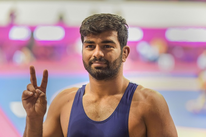 India's Aditya Kundu after winning his 72 kg- category bronze medal match against Nao Kusaka of Japan at the Asian Wrestling Championship 2020, in New Delhi