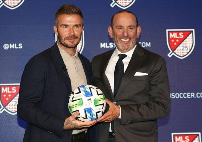 David Beckham and MLS Commissioner Don Garber during the MLS 25th Season Kick-off at the Mandarin Oriental Hotel, in New York, on Wednesday.